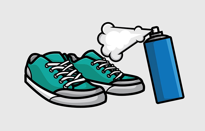 Spraying Shoes with Disinfectant